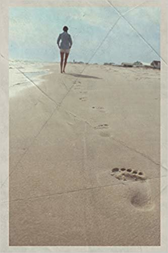 Notebook: Walking on hot sand Handy Composition Book Daily Journal Notepad Diary Vintage Retro Poster style for logging beachcombing finds
