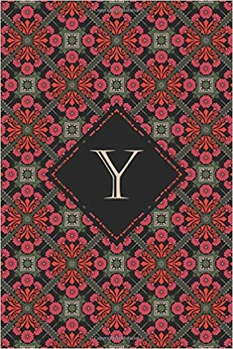 Y: Elegant monogrammed blank dotted journal: Beautiful and classic bulleted dot grid notebook: Ornate deep red and green pattern design