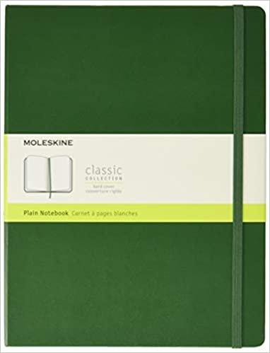Moleskine Notebook, Extra Large, Plain, Myrtle Green, Hard Cover (7.5 x 9.75)