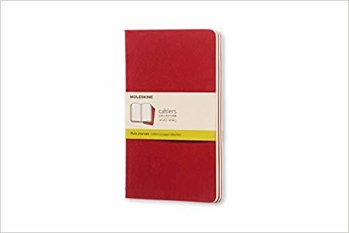 Caderneta Cahier, Vermelha, Conjunto com 3 Unidades, Sem Pauta, Tamanho Grande