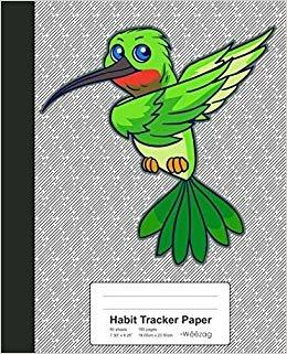 Habit Tracker Paper: Dabbing Green Humming Bird Book (Birds)