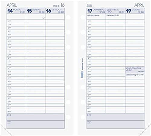 BRUNNEN Kalendarium für Timer, Ringbuchkalender Timer-Einlage Wochenkalendarium, Kalendarium 2016 (107490116)