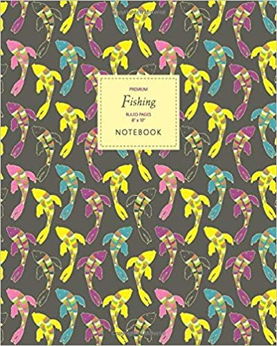 Fishing Notebook - Ruled Pages - 8x10 - Premium: (Summer Dark Edition) Fun notebook 192 ruled/lined pages (8x10 inches / 20.3x25.4 cm / Large Jotter)
