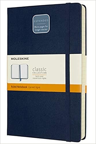 Moleskine Notebook, Expanded, Large, Ruled, Sapphire Blue, Hard Cover (5 x 8.25)