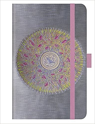 """Premium Notes Small """"Blütenmandala"""": A6 Notizbuch liniert mit hochwertiger Folienveredelung, Stiftehalter, Zetteltasche und Leseband indir"""