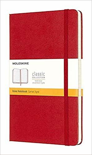 Caderno Clássico, Vermelho, Capa Dura, Pautado, Tamanho Grande