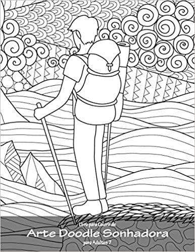 Livro para Colorir de Arte Doodle Sonhadora para Adultos 7