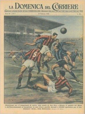 """Le squadre del Milan e del'Internazionale si incontrano per il """"derby"""" della Madonnina allo stadio di San Siro."""