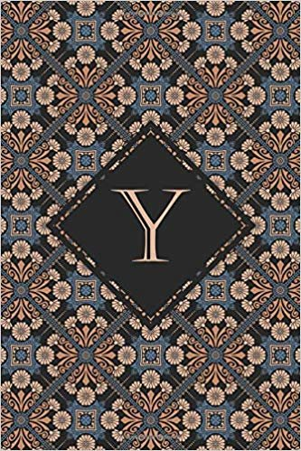 Y: Elegant monogrammed blank dotted journal: Beautiful and classic bulleted dot grid notebook: Ornate blue and orange pattern design
