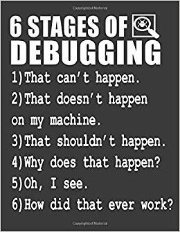 6 Stages of Debugging: Programmer Debugging gag gift. Programmer Notebook. 8.5 x 11 size 120 pages Programmer Journal Diary.