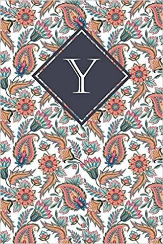 Y: Elegant monogrammed blank dotted journal: Beautiful and classic bulleted dot grid notebook: Orange and blue Paisley pattern design