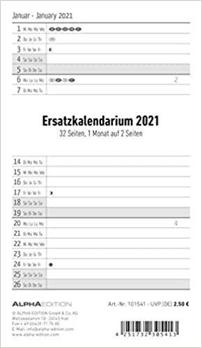 Ersatzkalendarium für Taschenplaner 2021 - Büro-Kalender - 9,5x16 cm - 32 Seiten - Alpha Edition