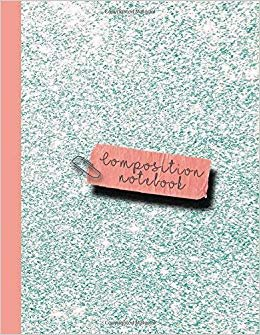 Composition notebook: Large sparkle glitter school or academic college ruled notebook for girls and women - Pale blue sparkle