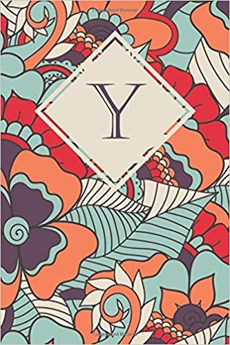 Y: Elegant monogrammed blank dotted journal: Beautiful and classic bulleted dot grid notebook: Vibrant orange, purple and blue floral pattern design