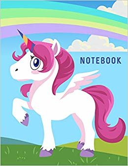 "Notebook: Cute Unicorn in Grass with Rainbow Wide Ruled Composition Note Book 8.5""x11"" Lined Paper 70 Sheets (140 Pages)"
