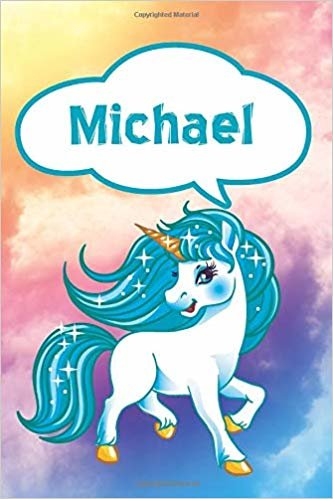 """Michael: Unicorn Blank Comic Book Notebook Journal book 120 pages 6""""x9"""""""