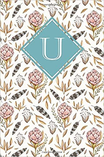 U: Elegant monogrammed blank dotted journal: Beautiful and classic bulleted dot grid notebook: Pink, mint green and white floral design