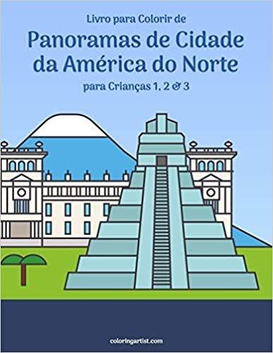 Livro para Colorir de Panoramas de Cidade da América do Norte para Crianças 1, 2 & 3