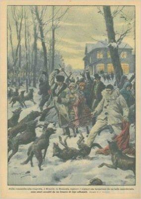 In Romania signore e signori che tornavano da un ballo mascherato sono stati assaliti da un branco di lupi affamati.