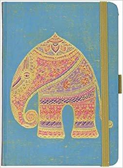 """Premium Notes Big """"Indischer Elefant"""": A5 Notizbuch liniert mit hochwertiger Folienveredelung, Stiftehalter, Zetteltasche und Leseband"""