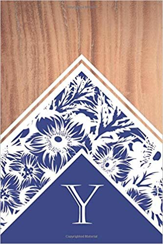 Y: Elegant monogrammed blank dotted journal: Beautiful and classic bulleted dot grid notebook: Distinctive wood, navy and white floral design