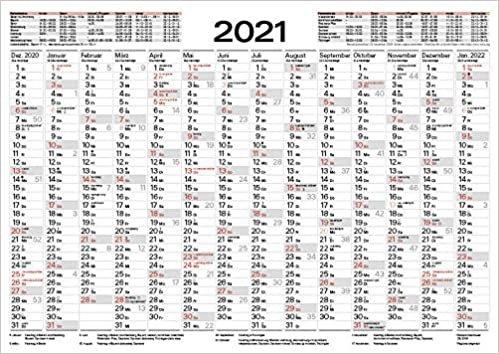 Tafelkalender A4 2021: 14 Monate auf einer Seite I Ferientermine und Feiertage