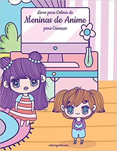 Livro para Colorir de Meninas de Anime para Crianças