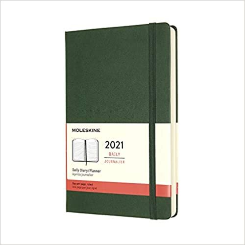 Moleskine 2021 Daily Planner, 12M, Large, Myrtle Green, Hard Cover (5 x 8.25)