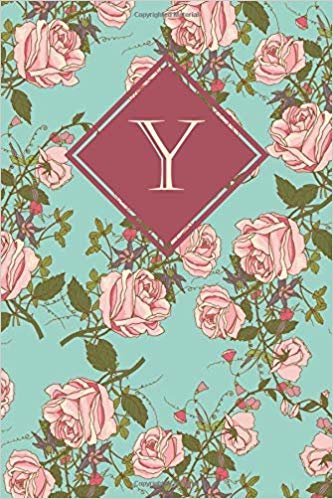 Y: Elegant monogrammed blank dotted journal: Beautiful and classic bulleted dot grid notebook: Ornate mint green and pink rose design