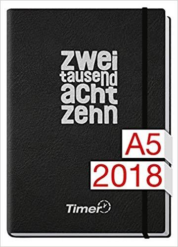 Chäff-Timer Premium A5 Kalender 2018 [Kunstleder schwarz zweitausendachtzehn] 12 Monate Jan-Dez 2018 - Gummiband, Einstecktasche - Terminkalender mit Wochenplaner - Organizer - Wochenkalender