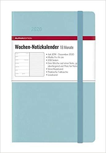 Wochen Notizkalender Azure 2020 - Taschenkalender, klein