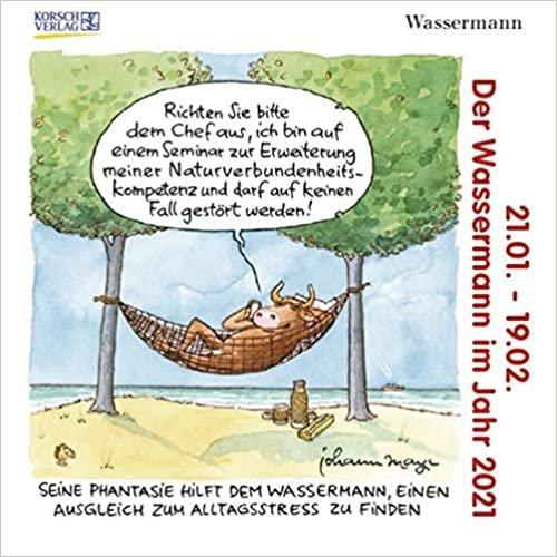 Wassermann Mini 2021: Sternzeichenkalender-Cartoon - Minikalender im praktischen quadratischen Format 10 x 10 cm.