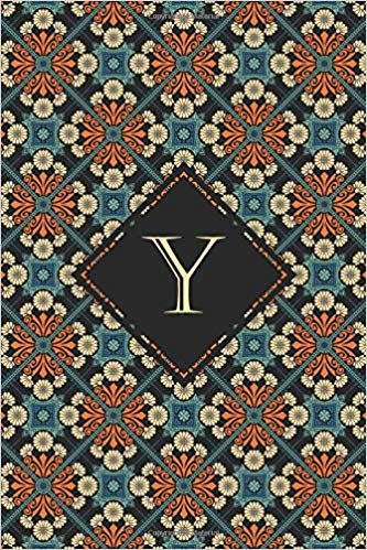 Y: Elegant monogrammed blank dotted journal: Beautiful and classic bulleted dot grid notebook: Ornate cream, orange and blue pattern design