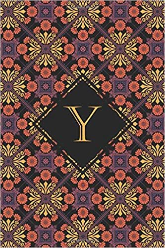 Y: Elegant monogrammed blank dotted journal: Beautiful and classic bulleted dot grid notebook: Ornate pink and purple pattern design