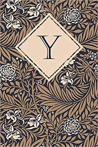 Y: Elegant monogrammed blank dotted journal: Beautiful and classic bulleted dot grid notebook: Ornate navy, brown and cream floral pattern design