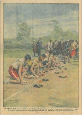 """Il """"Derby delle piccole tartarughe"""": le bestiole compiono solo la prima parte della corsa, che poi viene finita dalle belle padroncine."""
