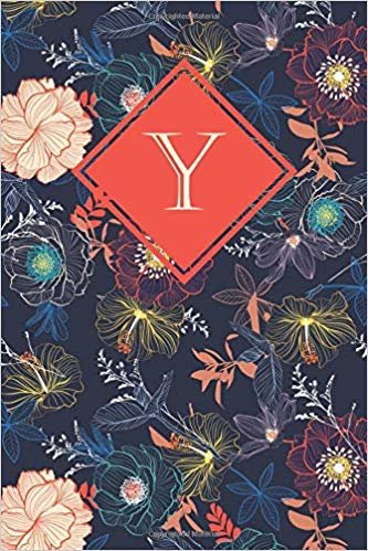 Y: Elegant monogrammed blank dotted journal: Beautiful and classic bulleted dot grid notebook: Striking navy and multicolored floral design
