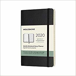 """Moleskine Classic 12 Month 2020 Weekly Planner, Soft Cover, Pocket (3.5"""" x 5.5"""") Black"""