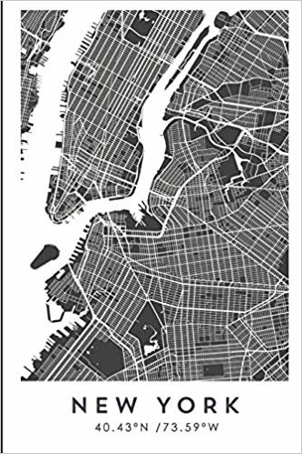 NEW YORK 40.43ºN /73.59ºW: Travel journal Designed in Barcelona, travel journal notebook, Bullet journal book, Diary, Memoir, sketchbook, Travel ... grid, travel planner, city map, (CITY MAPS)