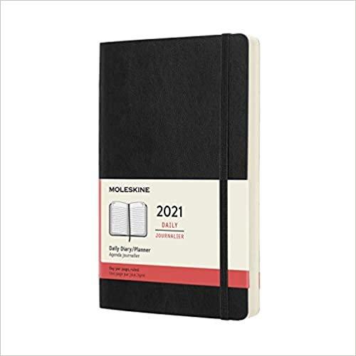 Agenda Moleskine 2021 Diaria 12 Meses, Grande (13 x 21 cm) , Preta, Capa Flexivel