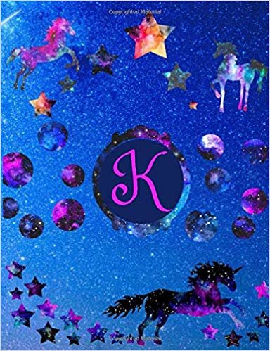 """Starry Unicorns Notebook Monogram Series """"K"""": College Ruled Composition Notebook in 7.44"""" x 9.69""""  for note taking, journaling and essays (Starry Unicorns Monogram Series)"""