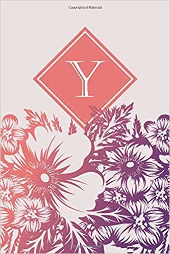 Y: Elegant monogrammed blank dotted journal: Beautiful and classic bulleted dot grid notebook: Purple and pink floral pattern design