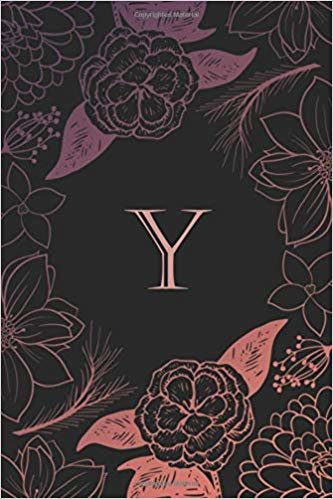 Y: Elegant monogrammed blank dotted journal: Beautiful and classic bulleted dot grid notebook: Purple, pink and black floral design