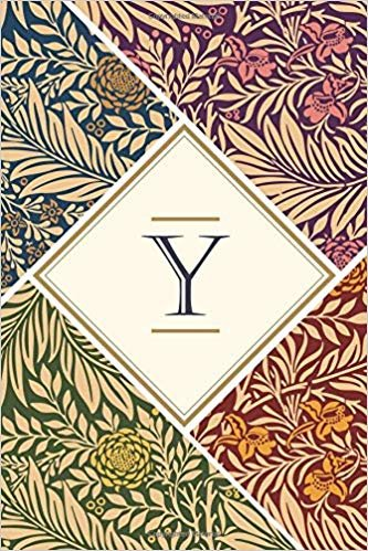 Y: Elegant monogrammed blank dotted journal: Beautiful and classic bulleted dot grid notebook: Ornate pink, green, orange and navy floral pattern design