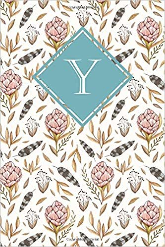 Y: Elegant monogrammed blank dotted journal: Beautiful and classic bulleted dot grid notebook: Pink, mint green and white floral design