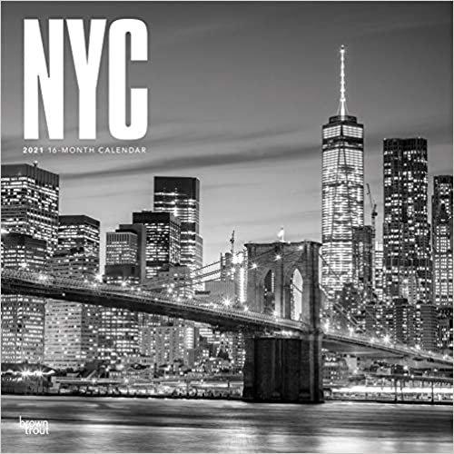 New York City - schwarz-weiß 2021 - 18-Monatskalender mit freier TravelDays-App: Original BrownTrout-Kalender