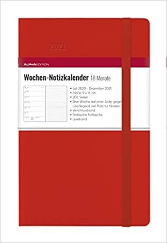 Wochen Notizkalender 18 Monate klein Red 2021 - Taschen-Kalender 9x14 cm - mit Verschlussband & Falttasche - Juli 2020 bis Dez 2021 - Weekly - 128 Seiten