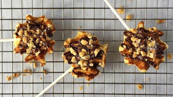 Mini Waffle Pops with Dark Chocolate, Roasted Peanuts, and Flaked Salt