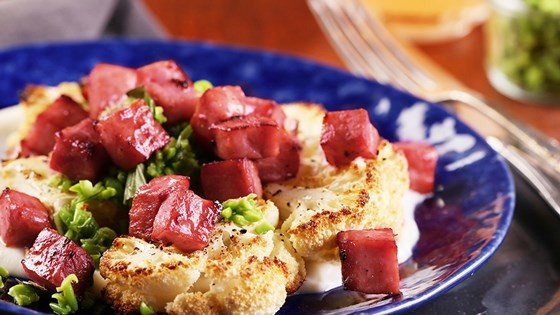 Roasted Cauliflower with Ham and Gouda