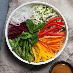 Rainbow Veggie Spring Roll Bowl